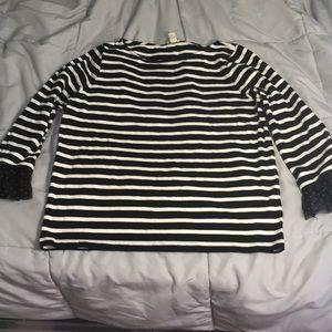 J crew black/white top